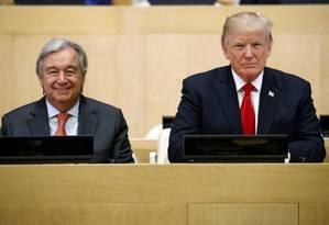 Presidente dos EUA, Donald Trump, à direita, ao lado do secretário geral da ONU, Antonio Guterres Foto: Evan Vucci / AP