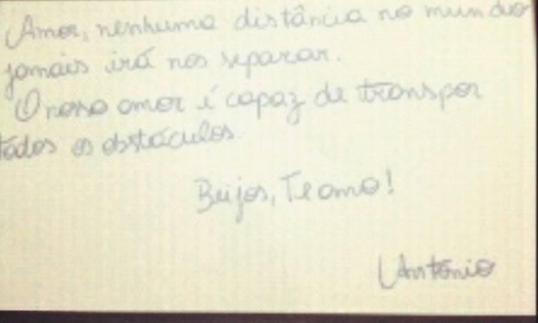 Bilhete de Nem para Danúbia postado em um dos perfis dela no Instagram. Chefe do tráfico da Rocinha está preso em Rondônia Foto: Reprodução