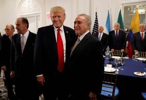 Temer se encontra com Trump para jantar, em Nova York Foto: KEVIN LAMARQUE / REUTERS