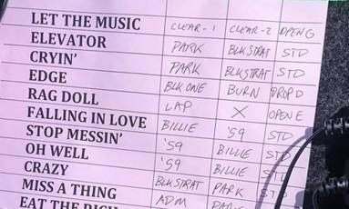 Setlist do Aerosmith para o show em Belo Horizonte Foto: Reprodução