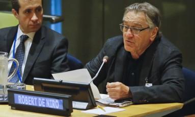 O ator Robert De Niro discursa em um encontro sobre o furacão Irma na ONU Foto: Bebeto Matthews / AP
