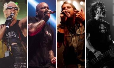 Supla, Derrick Green, do Sepultura, Leo Beling, do Republica, Raphael Miranda, do Ego Kill Talent, se apresentam no palco Sunset no dia 24/9 Foto: Reprodução