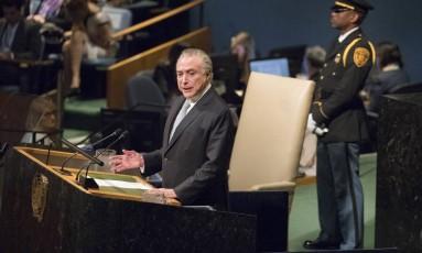 O presidente Michel Temer discursa durante a a abertura da 72ª Assembleia Geral da ONU, em Nova York Foto: Mary Altaffer / AP