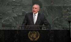 Temer faz discurso na ONU Foto: TIMOTHY A. CLARY / AFP