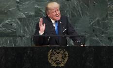 O presidente dos EUA, Donald Trump, discursa na Assembleia Geral da ONU, em Nova York Foto: Drew Angerer / AFP