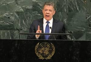 O presidente colombiano, Juan Manuel Santos, discursa na 72ª Assembleia Geral da ONU, em Nova York Foto: LUCAS JACKSON / REUTERS
