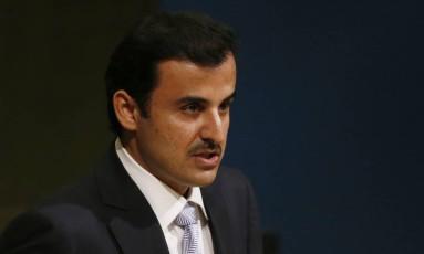 O emir Tamim bin Hamad al-Thani, do Qatar, durante seu discurso na Assembleia Geral da ONU, em Nova Iorque. Foto: SHANNON STAPLETON / REUTERS