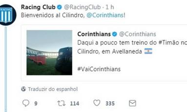Racing da as boas-vindas ao Corinthians Foto: Reprodução