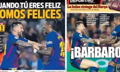 Messi e Paulinho em manchetes de jornais Foto: Reprodução