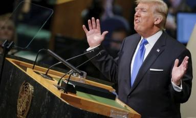 Plateia chocada. Trump faz seu discurso de estreia na sessão de abertura da Assembleia Geral da ONU, em Nova York: murmúrios, poucos aplausos e críticas generalizadas Foto: EDUARDO MUNOZ / Eduardo Munoz/REUTERS