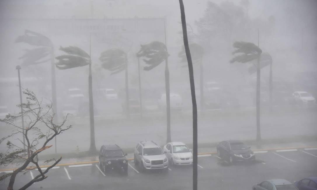 Chuva e vento são vistos em um estacionamento em San Juan, Porto Rico durante a passagem do furacão Maria. Segundo o governador da ilha, Ricardo Rosselló, por volta das 2h30 (horário local), foram contabilizados mais de 10 mil refugiados e 189 animais de estimação levados a abrigos Foto: HECTOR RETAMAL / AFP