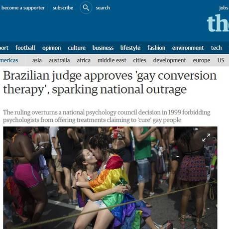 Jornal britânico The Guardian foi uma das mídias que repercutiram decisão sobre terapias de reversão sexual Foto: Reprodução