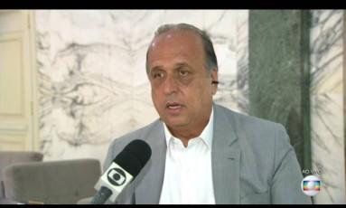 Governador Luiz Fernando Pezão, em entrevista ao RJTV Foto: Reprodução