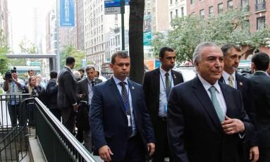 O presidente Michel Temer em Nova York Foto: Beto Barata / Agência O Globo