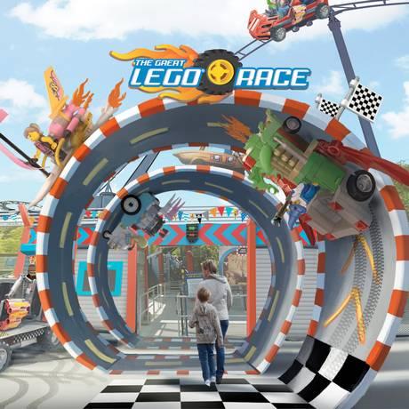 Imagem mostra como será a nova atração The Great Lego Race, que misturará realidade virtual e montanha-russa em três parques Legoland Foto: Divulgação / Legoland Florida Resort