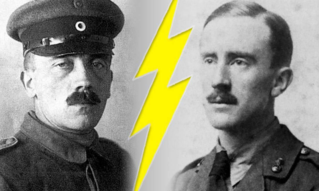 Adolf Hitler e J. R. R. Tolkien como soldados da Primeira Guerra Mundial Foto: Divulgação
