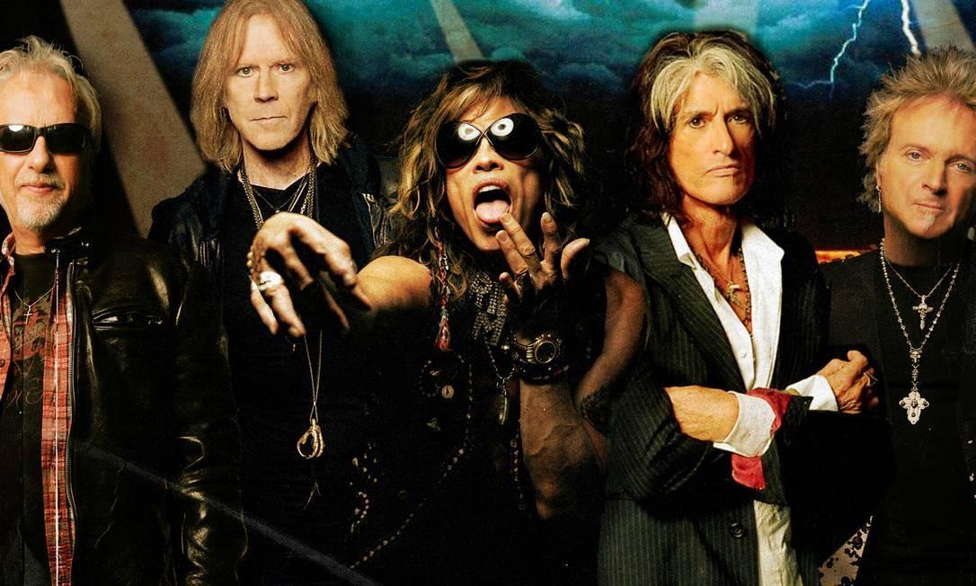 Aerosmith: Brad Whitford (guitarra, à esquerda), Tom Hamilton (baixo), Steven Tyler (vocais), Joe Perry (guitarra) e Joey Kramer (bateria) Foto: Divulgação / Divulgação