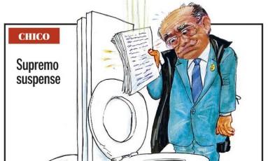 Charge de Chico Caruso representando o ministro Gilmar Mendes Foto: Reprodução