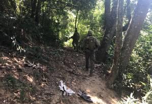 Policiais do Bope na região de mata na Rocinha Foto: Polícia Militar / Divulgação