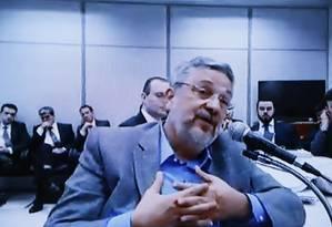 Reprodução de vídeo do depoimento de Antonio Palocci ao juiz Sergio Moro - 06/09/2017 Foto: Reprodução de vídeo / Agência O Globo