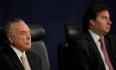 O presidente Michel Temer e o presidente da Câmara, Rodrigo Maia Foto: Ueslei Marcelino / Reuters / 18-9-17
