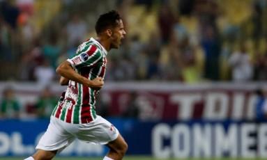 Gustavo Scarpa comemora o gol no jogo de ida contra a LDU Foto: Lucas Mercon / Fluminense F.C.