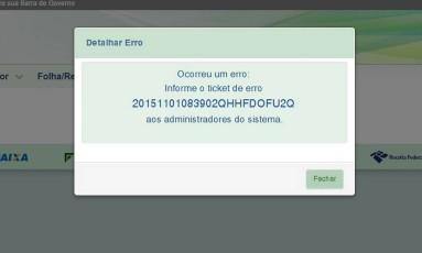 Aviso de erro no portal eSocial na implementação para empregadores domésticos em 2015 Foto: Reprodução/2-11-2015