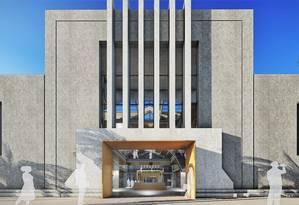 Projeção da fachada do Mercado Munipal; área total terá 3.662 metros quadrados Foto: Ilustração / Divulgação