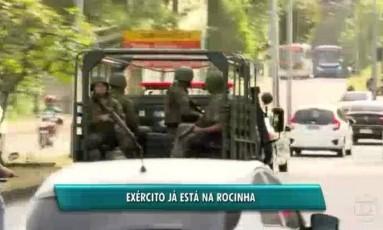 Tropas do Exército no entorno da Rocinha Foto: Reprodução / GloboNews TV