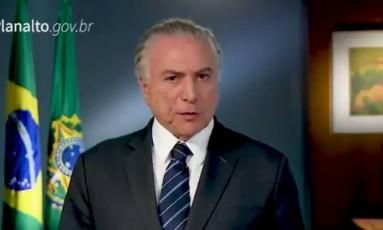 Em vídeo, Temer falou pela primeira vez sobre denúncia por organização criminosa Foto: Reprodução