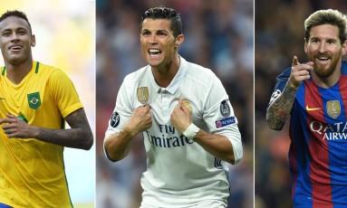 Neymar, Cristiano Ronaldo e Messi: finalistas do prêmio de melhor do mundo da Fifa Foto: LLUIS GENE / AFP