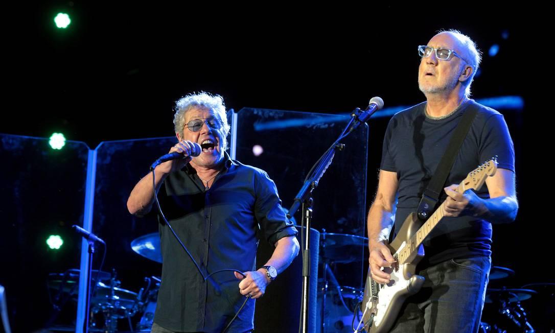 Roger Daltrey e Pete Townshend na primeira apresentação do The Who no Rio Foto: Marcelo Theobald / Agência O Globo