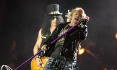 Axl Rose e Slash no show do Guns N' Roses no Rock in Rio Foto: Freelancer / Agência O Globo