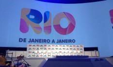 Palco da aprensentação do projeto do calendário de eventos do Rio, feito por Crivella e Medina Foto: O Globo