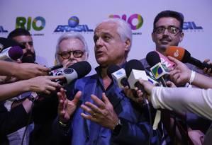 Roberto Medina em coletiva no Cidade do Rock Foto: Fábio Guimarães / Agência O Globo