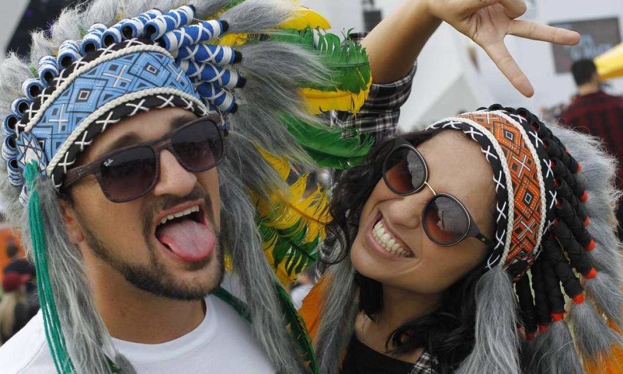 Sobra criatividade entre os foliões, quer dizer, público do Rock in Rio Foto: Pedro Teixeira / Agência O Globo