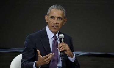 Ex-presidente americano Barack Obama durante Conferência Goalkeepers, organizada pela Fundação Bill e Melinda Gates Foto: Julio Cortez / AP