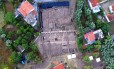 Imagem aérea mostra o sítio arqueológico onde o santuário foi encontrado