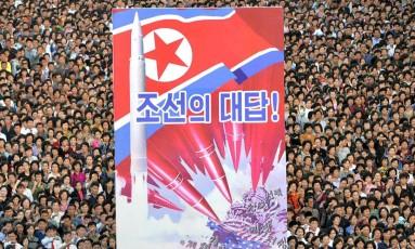 Protesto contra os EUA em Pyongyang, Coreia do Norte: escalada da tensão Foto: 23-7-2017/AFP