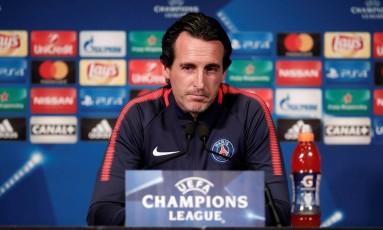 O técnico do PSG, Unai Emery Foto: BENOIT TESSIER / REUTERS