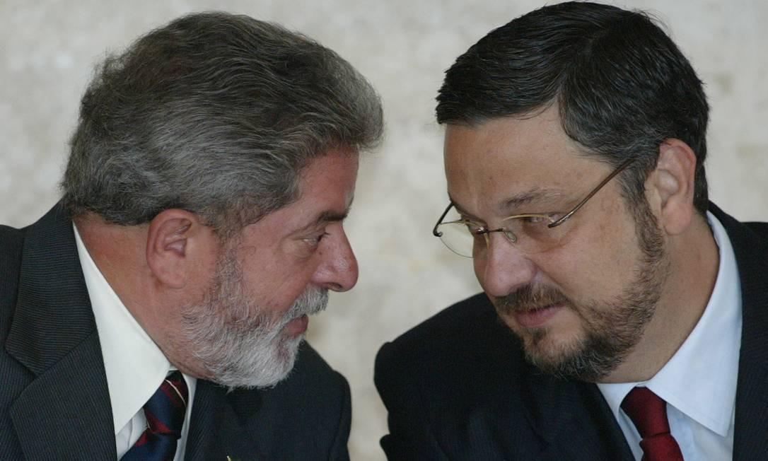 Lula e Palocci: relação rompida após declarações na Lava-Jato Foto: Roberto Stuckert Filho / 13-5-04