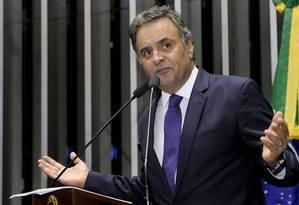 O senador Aécio Neves (PSDB-MG) foi afastado do mandato pela Primeira Turma do Supremo Tribunal Federal Foto: Agência Senado