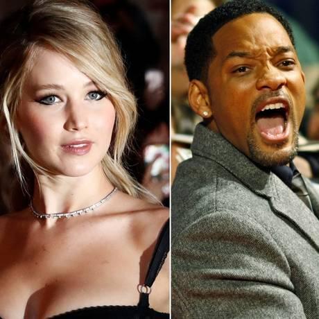 Os atores Jennifer Lawrence, Will Smith e Dwayne Johnson Foto: Reprodução