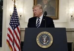 Presidente Trump faz pronunciamento após o maior ataque armado da História dos EUA Foto: Evan Vucci / AP