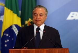 Presidente Michel Temer durante anúncio de liberação do saque de contas do PIS/Pasep, no Palácio do Planalto - 28/09/2017 Foto: Givaldo Barbosa / Agência O Globo