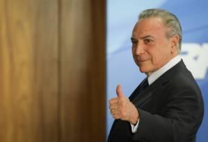 Presidente Michel Temer durante conferência no Palácio do Planalto - 28/09/2017 Foto: SERGIO LIMA / AFP
