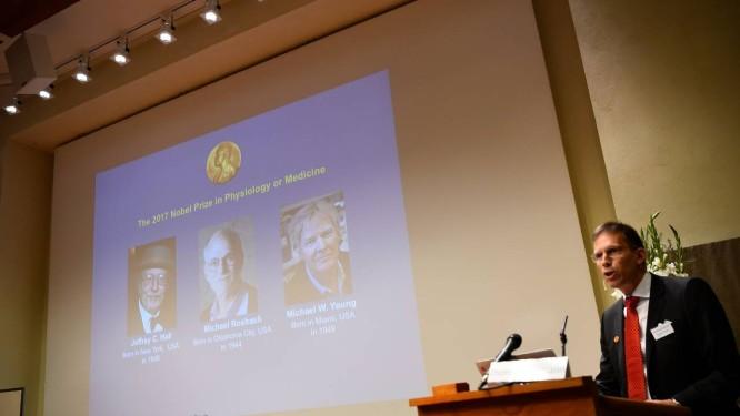 Secretário do Comitê do Nobel para Fisiologia ou Medicina, Thomas Perlmann anuncia os escolhidos para receber o prêmio de 2017, os americanos Jeffrey C. Hall, Michael Rosbash e Michael W. Young, por seus trabalhos que desvendaram os mecanismos moleculares do funcionamento do relógio biológico interno Foto: JONATHAN NACKSTRAND / AFP/JONATHAN NACKSTRAND