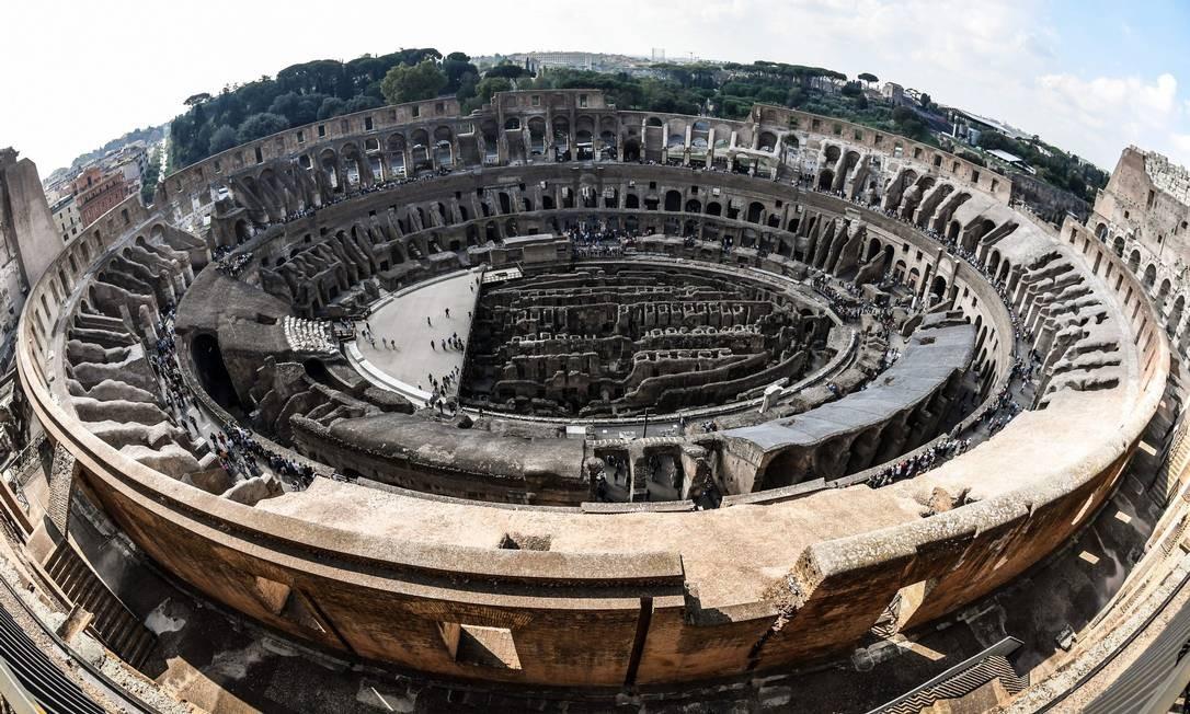 Por serem os mais distantes do centro da arena, os níveis recuperados eram destinados aos mais pobres na Roma Antiga Foto: Andreas Solaro / AFP
