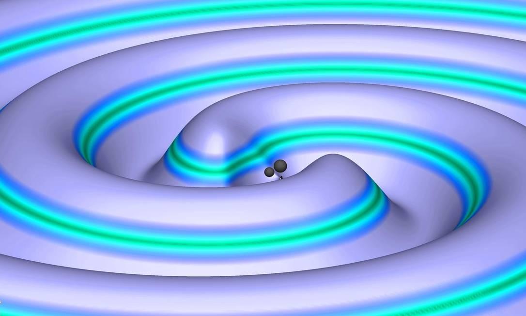 Ilustração do processo de fusão de dois buracos negros e as ondas gravitacionais por ele geradas Foto: Divulgação/Ligo
