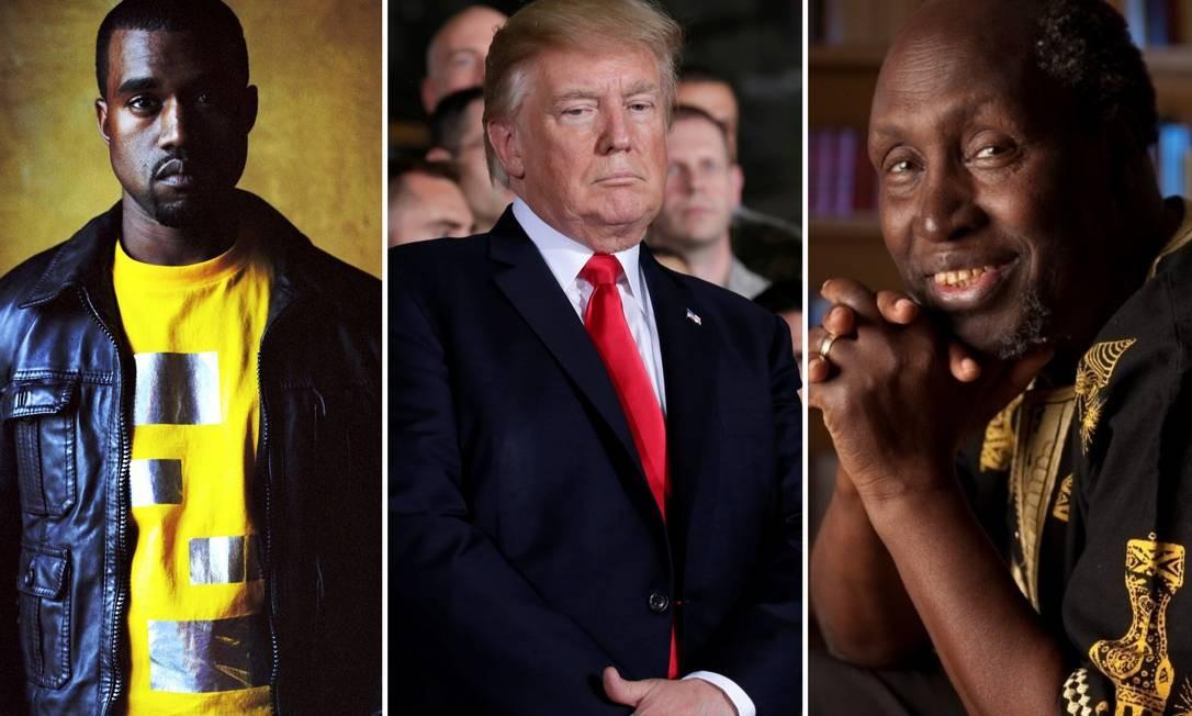 O rapper Kanye West, o presidente Donald Trump e o autor queniano Ngugi Wa Thiong'o Foto: Reprodução